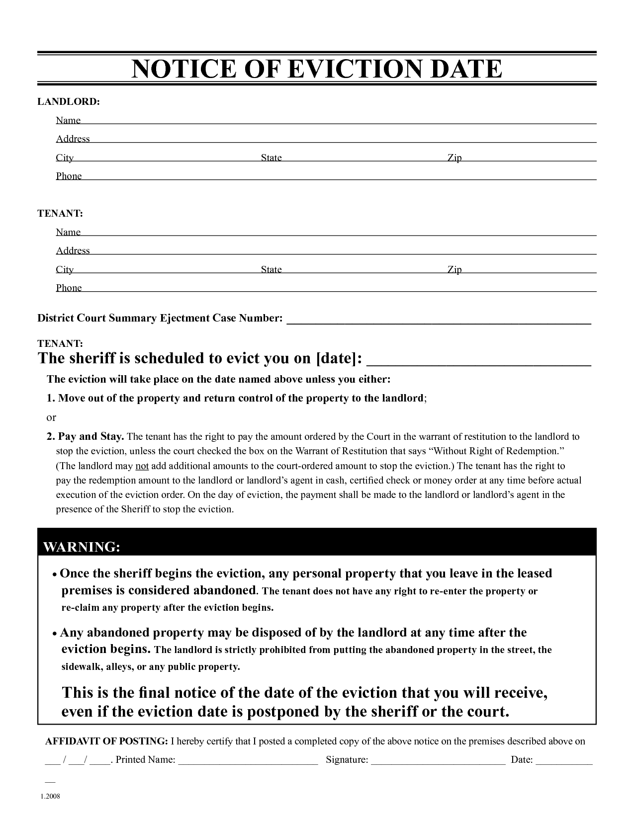 Free Eviction Notice Template | Printable Eviction Notice | Leaave - Free Printable Blank Eviction Notice