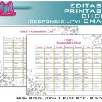 Free Family Chore Charts Printable   Editable / Printable Chore   Free Editable Printable Chore Charts