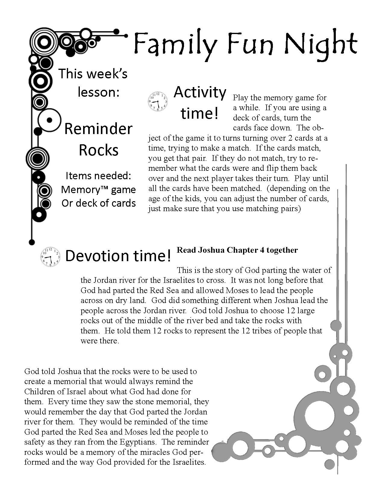 Free Family Fun Devotion Time. Printable Game, Lesson, Activity - Bible Lessons For Adults Free Printable