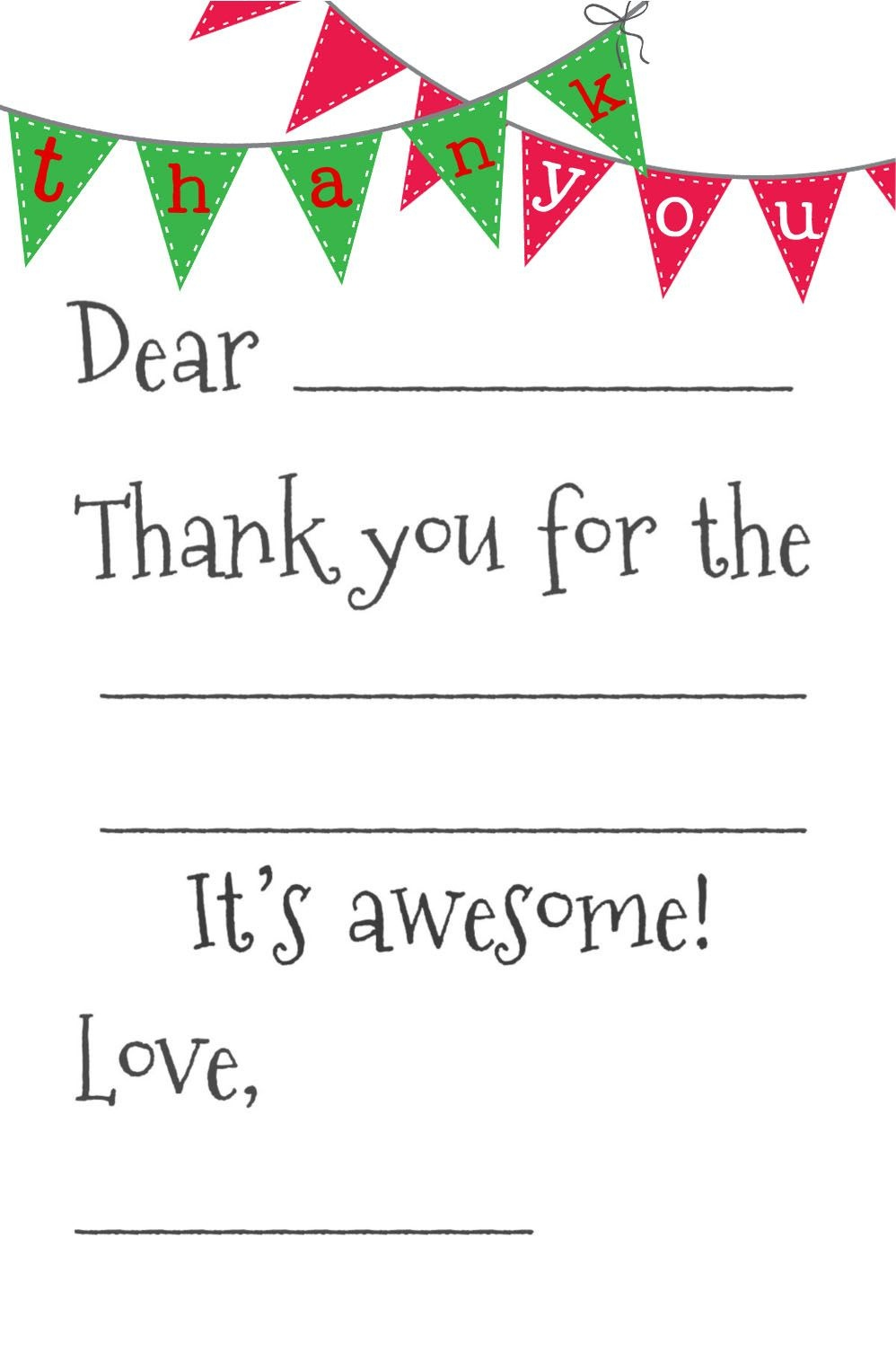Free Fill-In-The-Blank Thank-You Cards | Printables | Free Thank You - Free Printable Thank You Cards For Soldiers