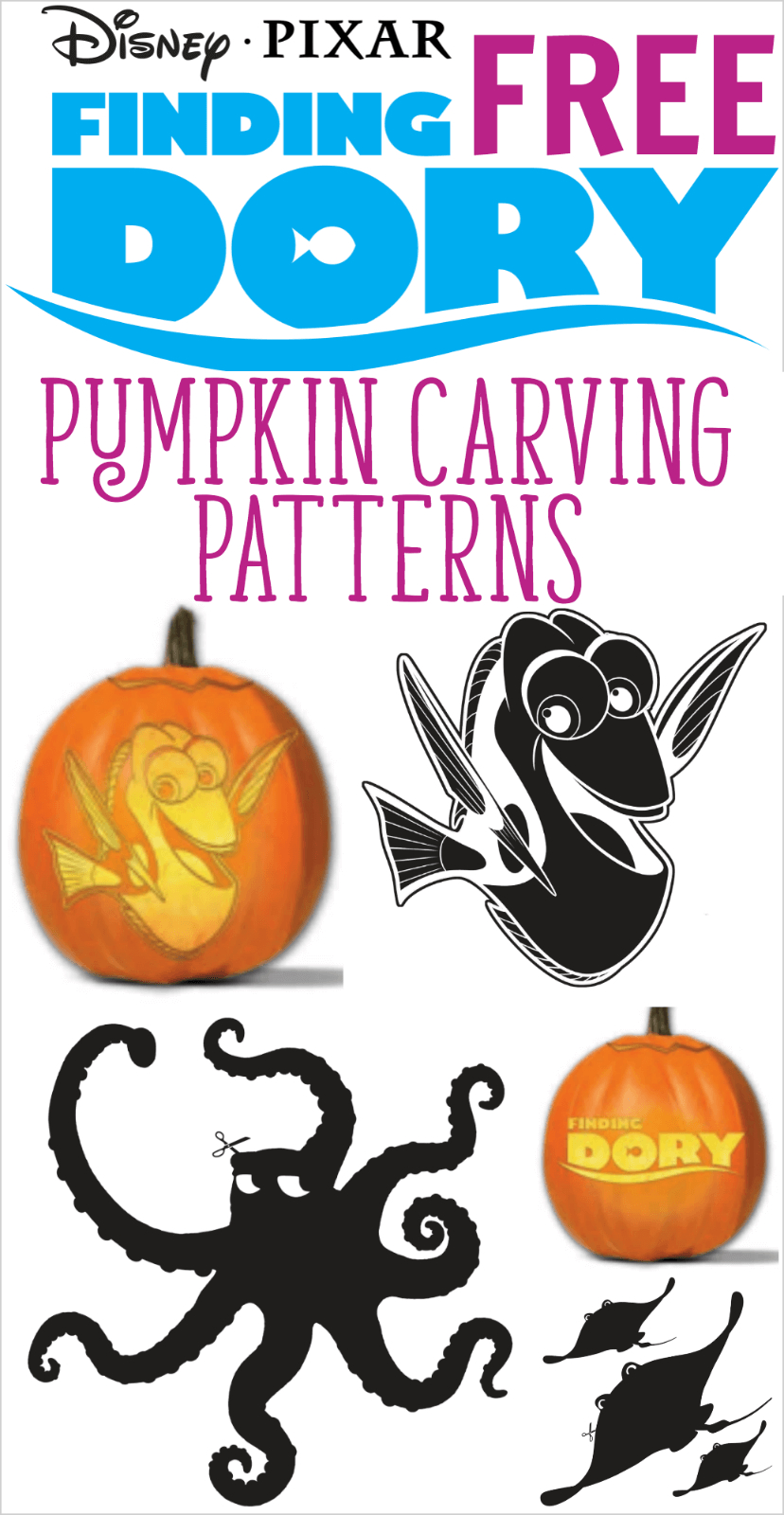 Free Finding Dory Pumpkin Carving Patterns To Print! | All Things - Free Printable Toy Story Pumpkin Carving Patterns
