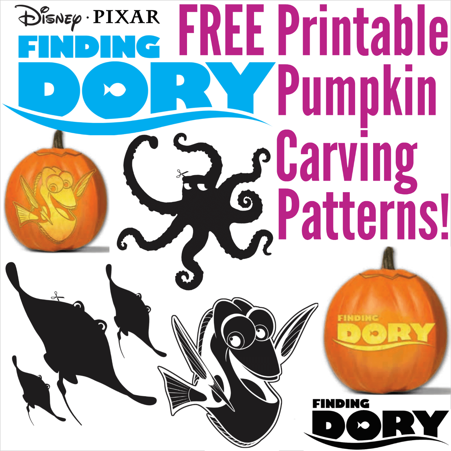 Free Finding Dory Pumpkin Carving Patterns To Print! - Free Pumpkin Printable Carving Patterns