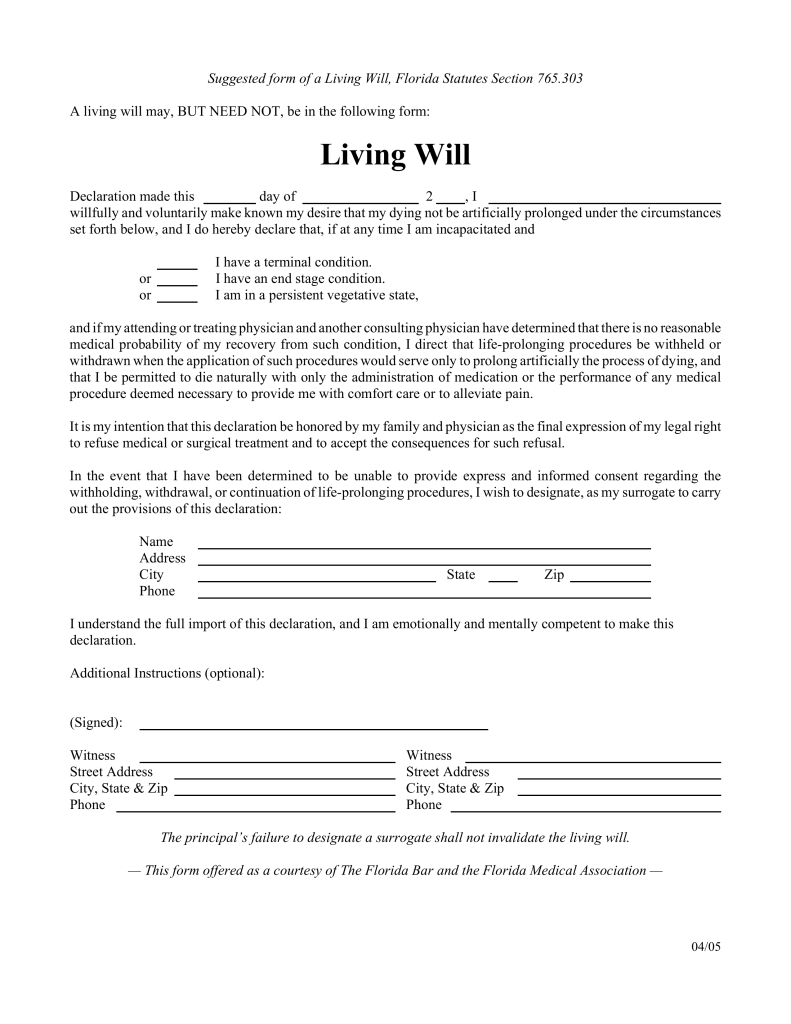Free Florida Living Will Form - Pdf | Eforms – Free Fillable Forms - Free Printable Advance Directive Form
