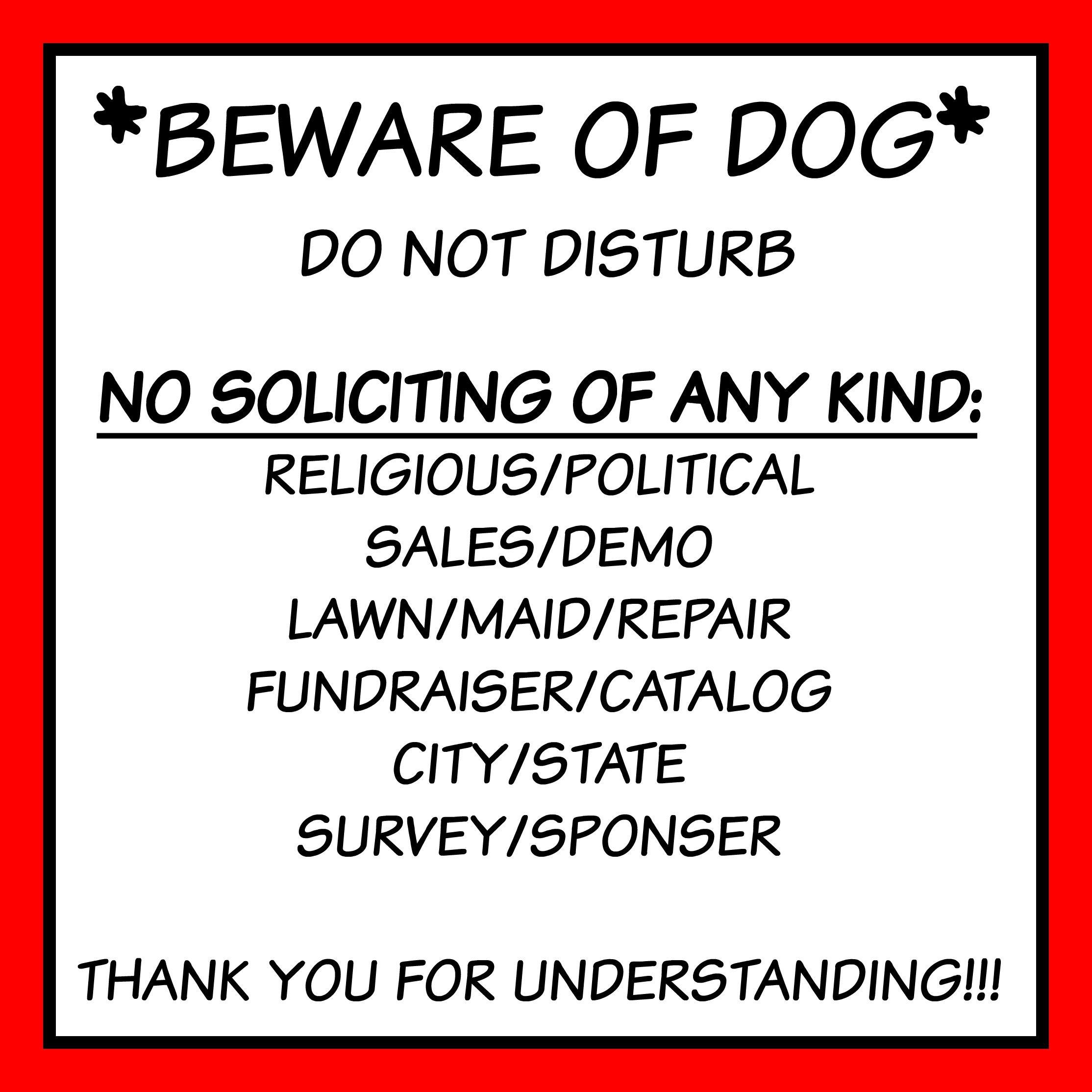 Free Front Door Sign Printable Beware Of Dog No Soliciting Etc - Free Printable No Soliciting Sign