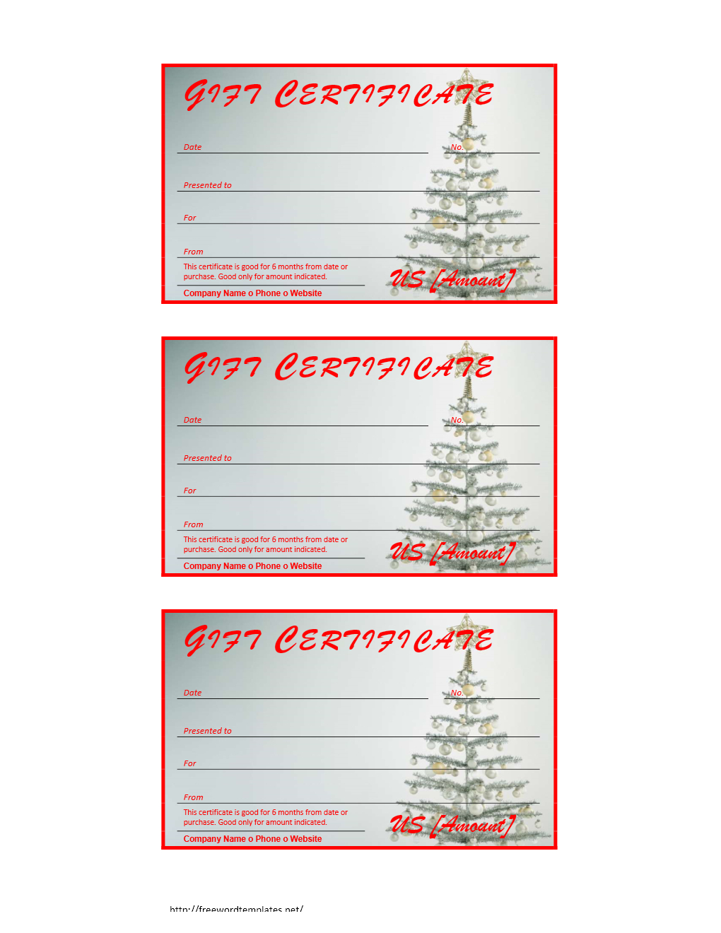 Free Gift Certificate Archives | Freewordtemplates - Free Printable Christmas Gift Voucher Templates