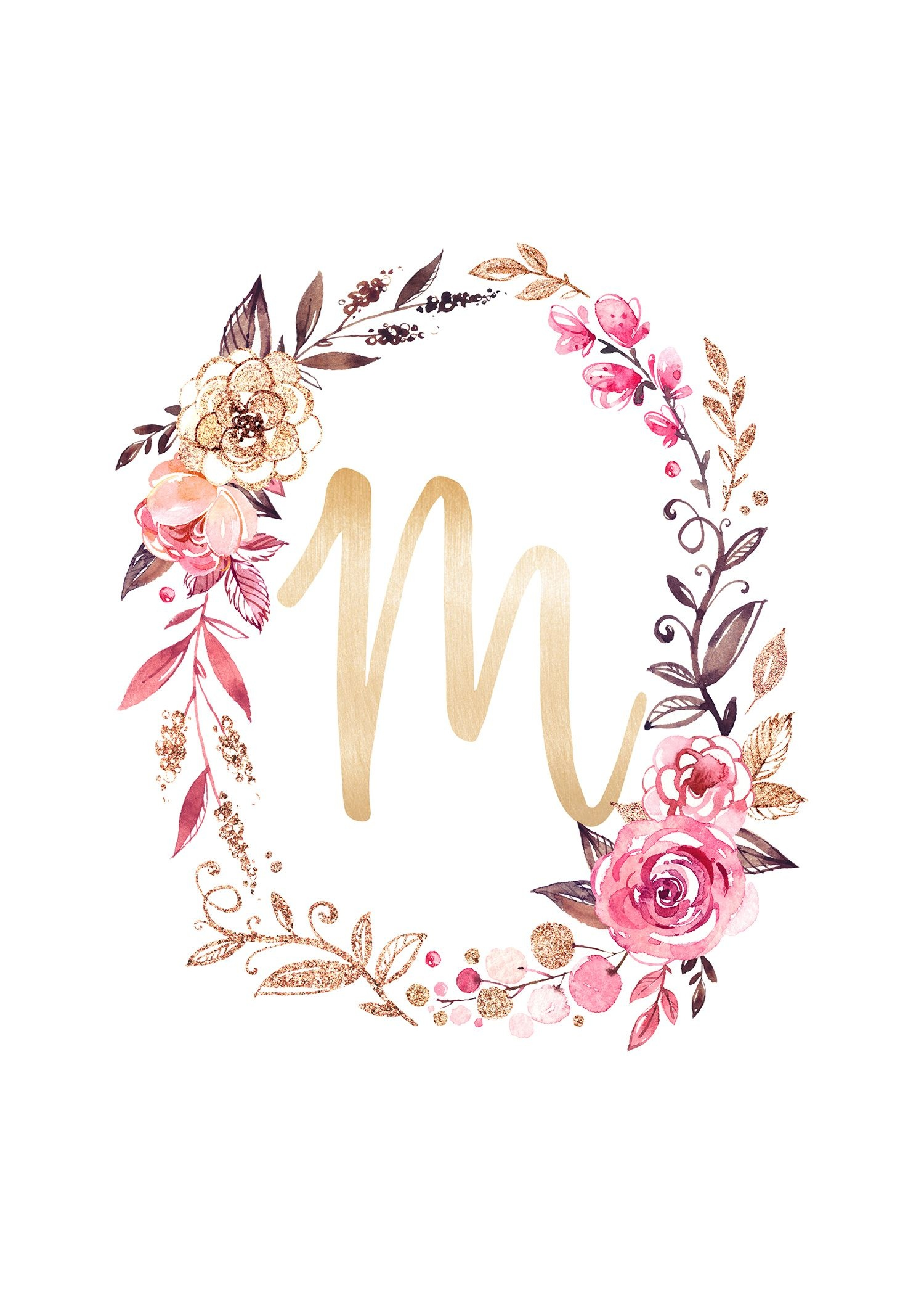 Free Glitter And Glam Monogram Printables | Kidsworld | Alphabet - Free Printable Flower Letters