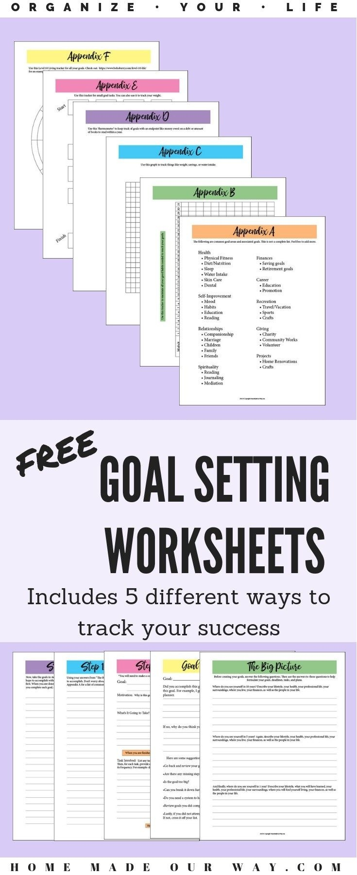 Free Goal Setting Worksheets For A Successful Year Any Time | Home - Free Printable Home Organization Worksheets