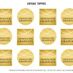 Free Gold Graduation Printables | Catch My Party   Free Printable Graduation Cupcake Toppers