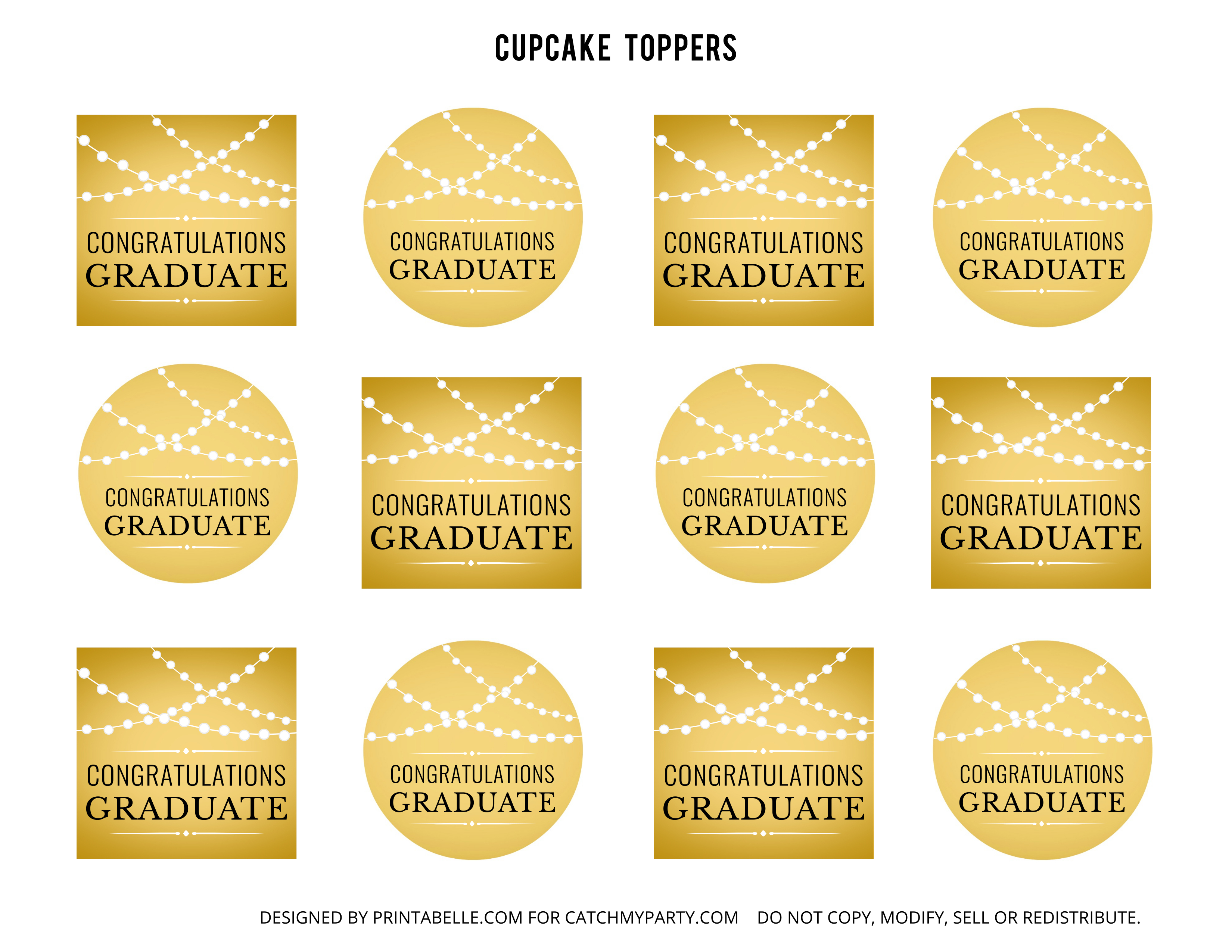 Free Gold Graduation Printables | Catch My Party - Free Printable Graduation Cupcake Toppers