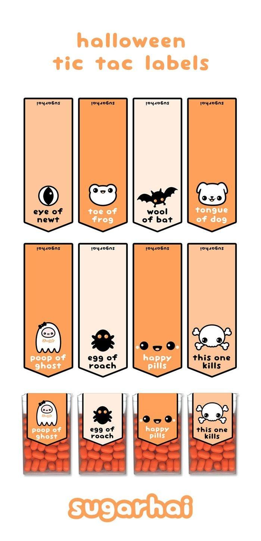 Free Halloween Printables | Halloween | Kawaii Halloween, Halloween - Free Printable Tic Tac Labels