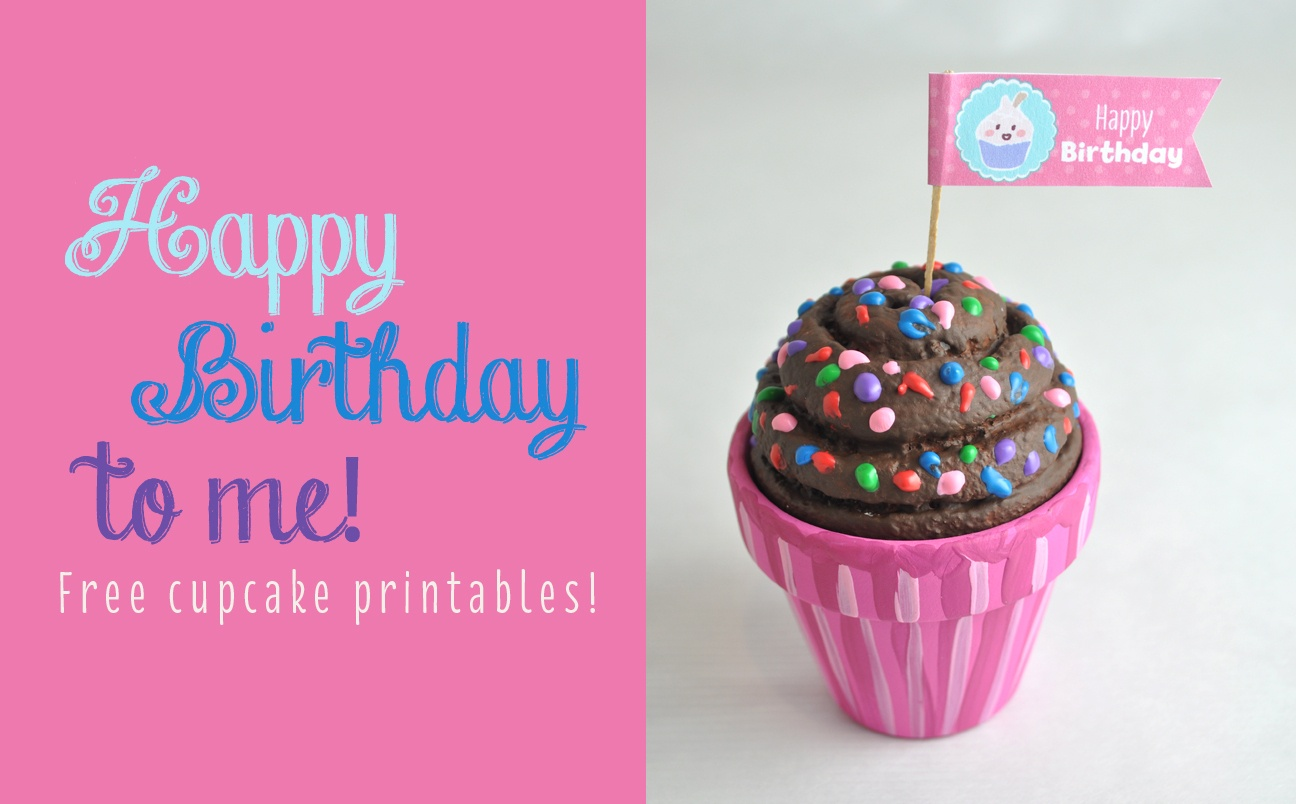 Free Happy Birthday Cupcake Topper Printable - Cupcake Flags Printable Free