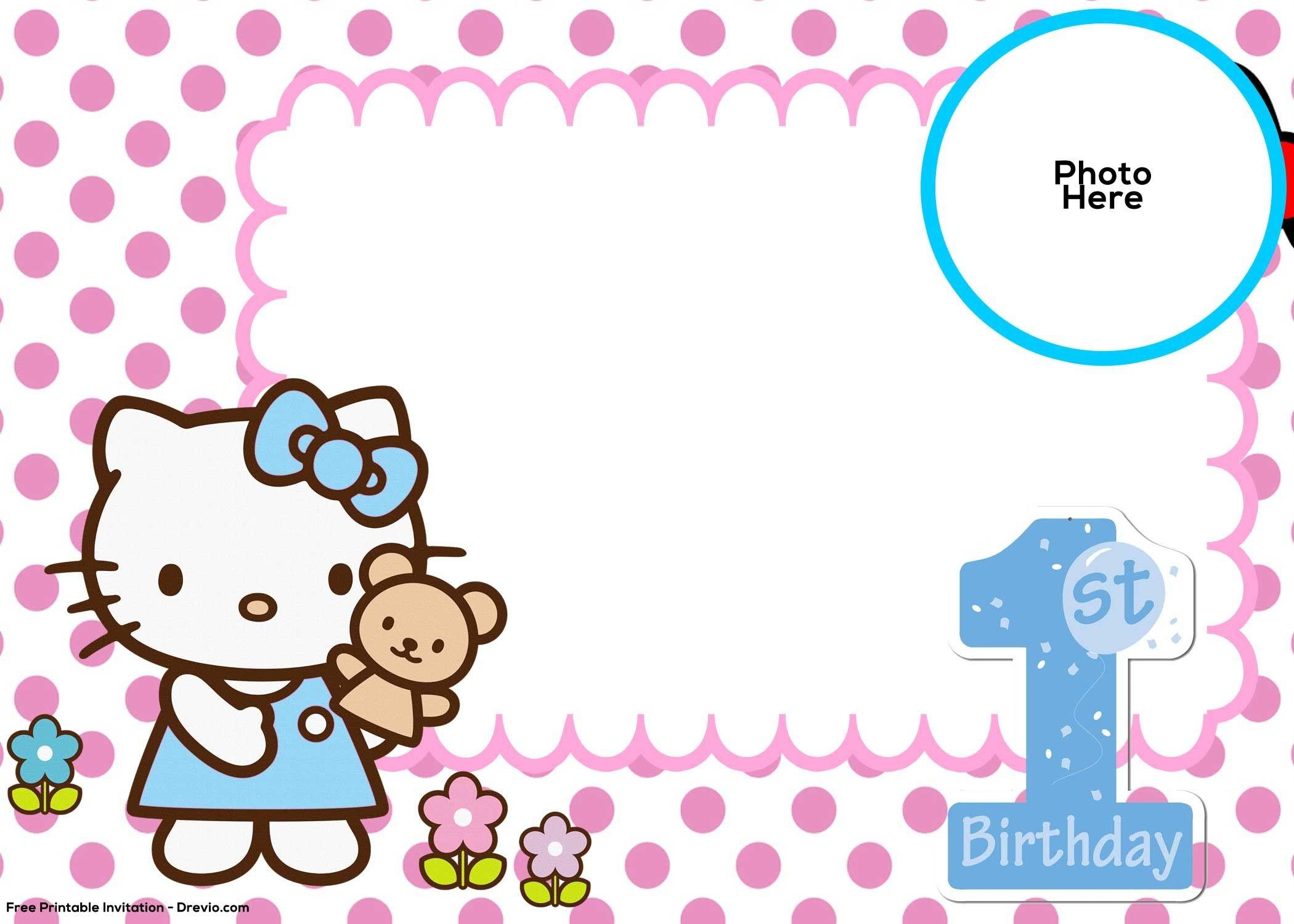 Free Hello Kitty 1St Birthday Invitation   Mickey   Birthday - Free Printable Hello Kitty Baby Shower Invitations
