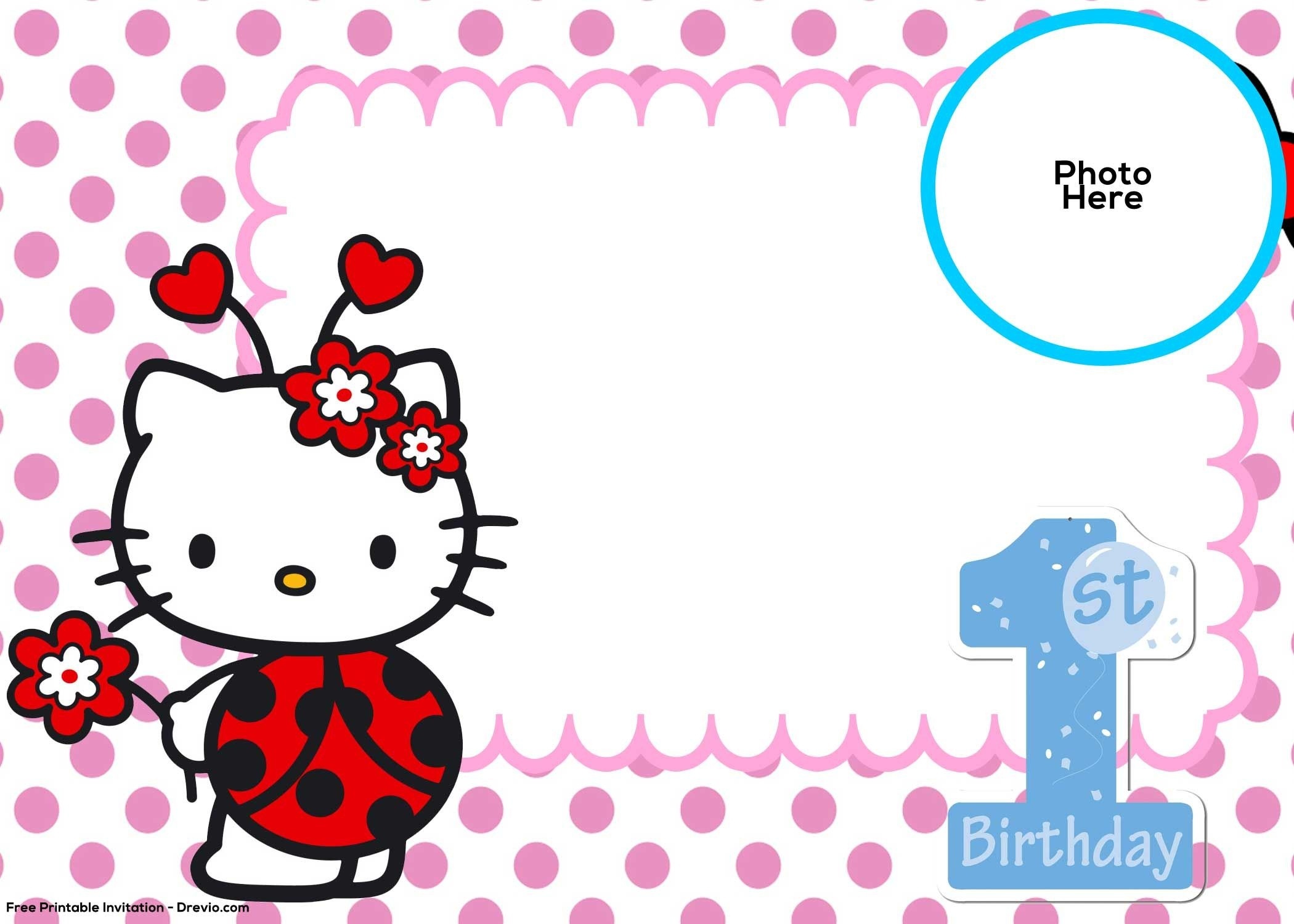 Free Hello Kitty 1St Birthday Invitation Template | Hello Kitty - Hello Kitty Birthday Card Printable Free
