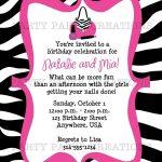 Free Invitations To Print    Birthday Invitation - Glamour Girl - Free Printable Animal Print Birthday Invitations
