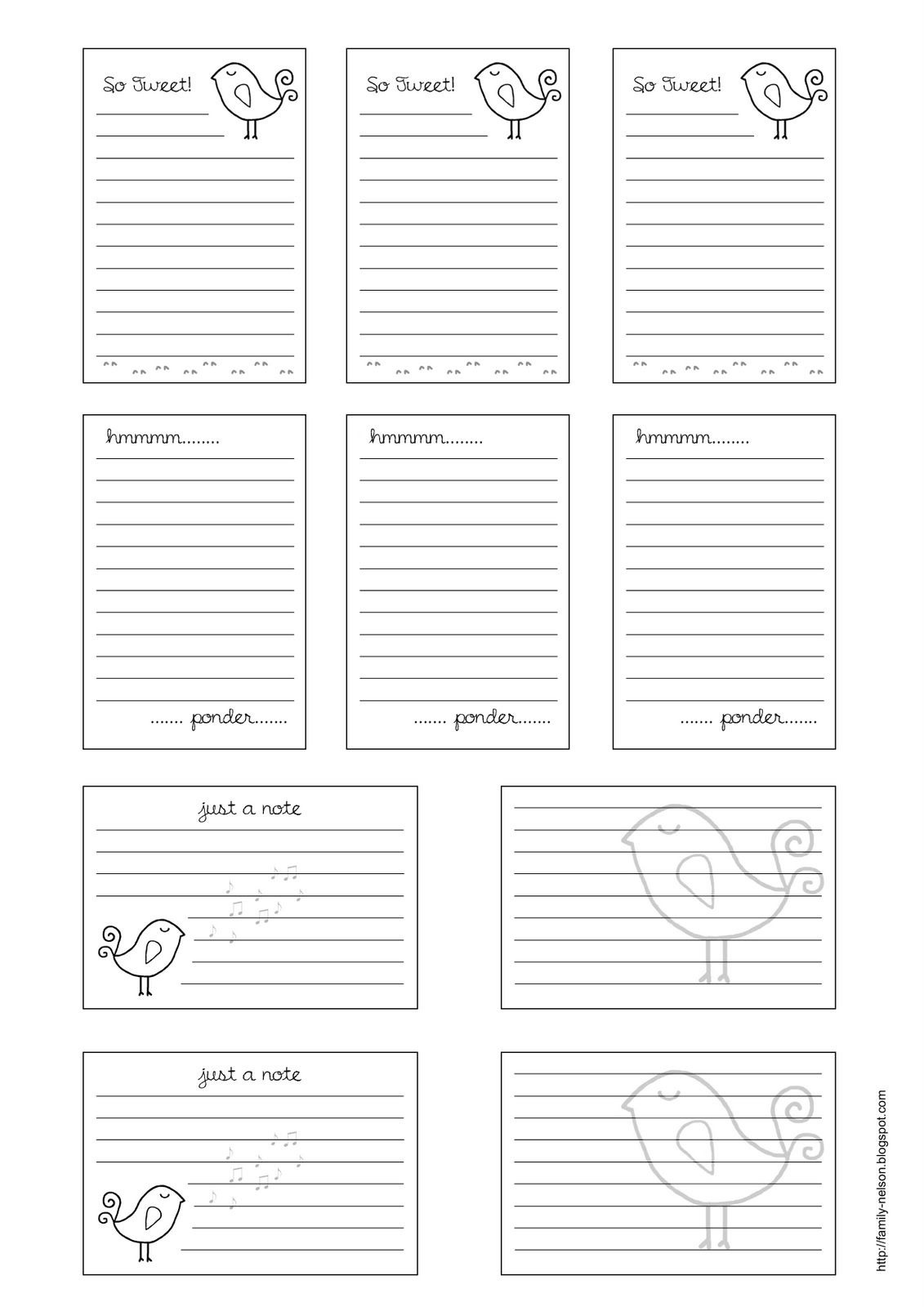 Free Journaling Printables | Free Printable Journalling Cards---Also - Free Printable Baby Journal Pages