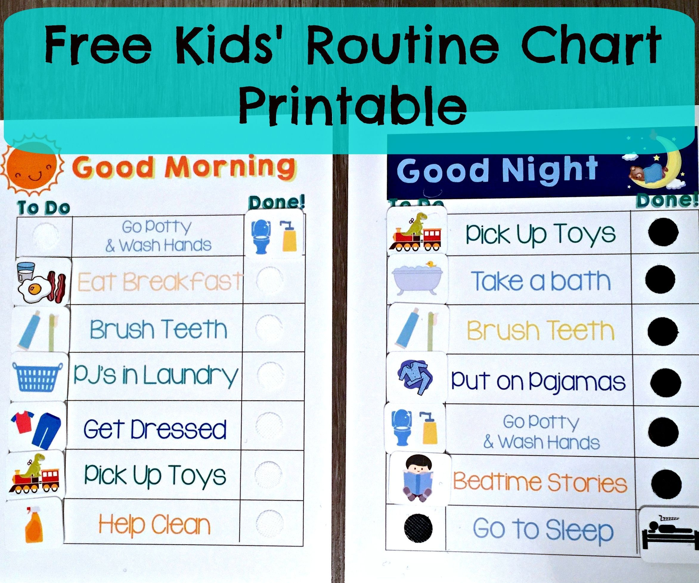 Free Kids' Morning & Night Routine Charts | Kid Things | Kids - Children's Routine Charts Free Printable