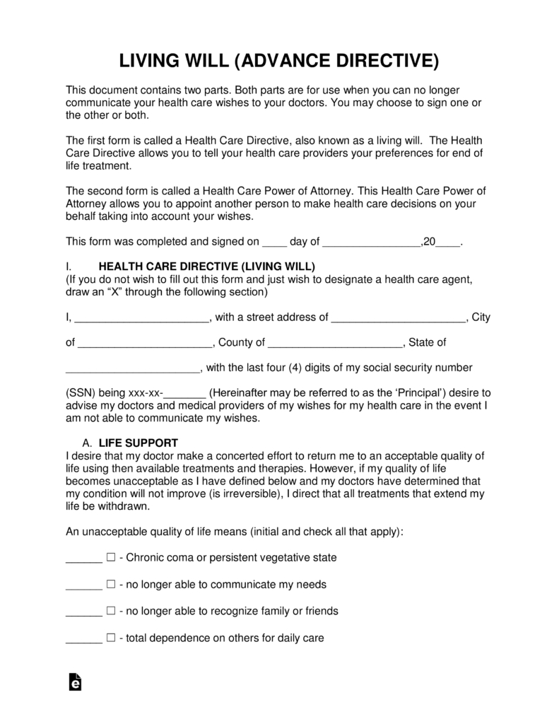 Free Living Will Forms (Advance Directive) | Medical Poa - Pdf - Free Printable Living Will Forms Florida