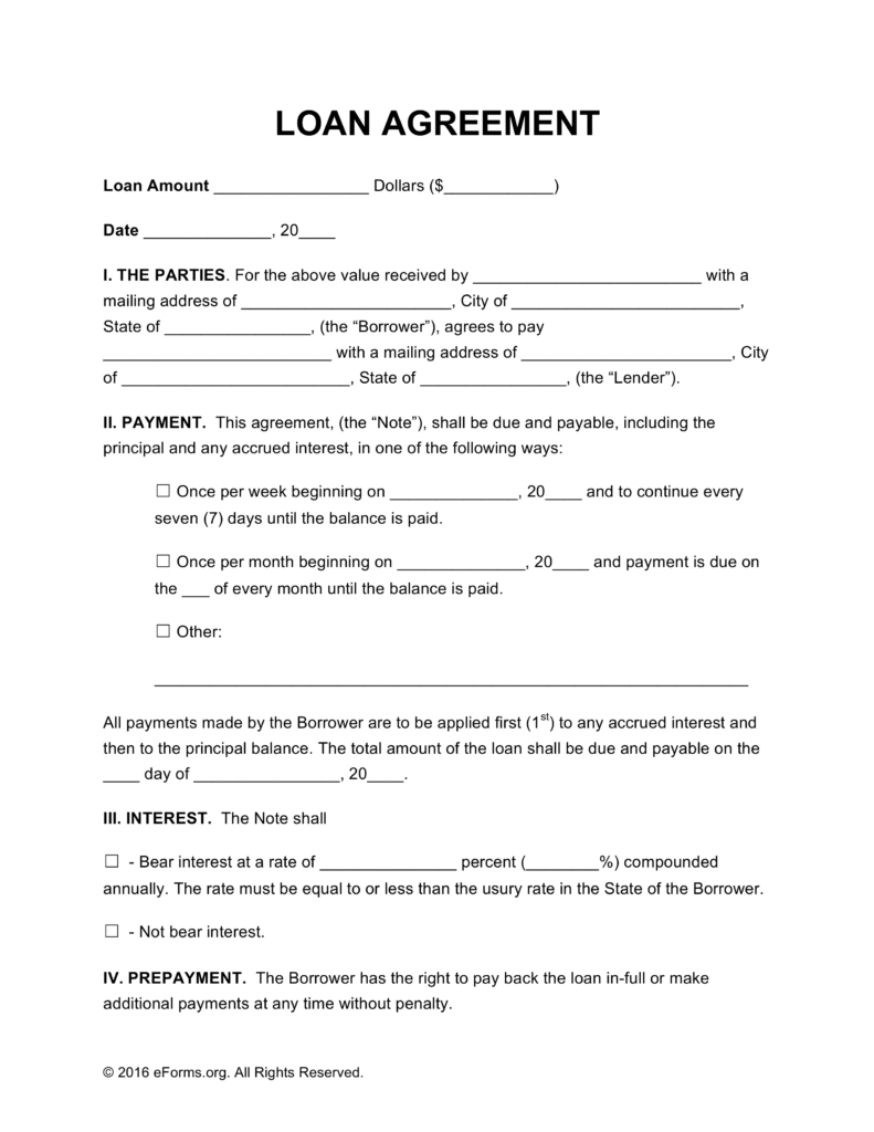 Free Loan Agreement Templates - Pdf | Word | Eforms – Free Fillable - Free Printable Blank Loan Agreement