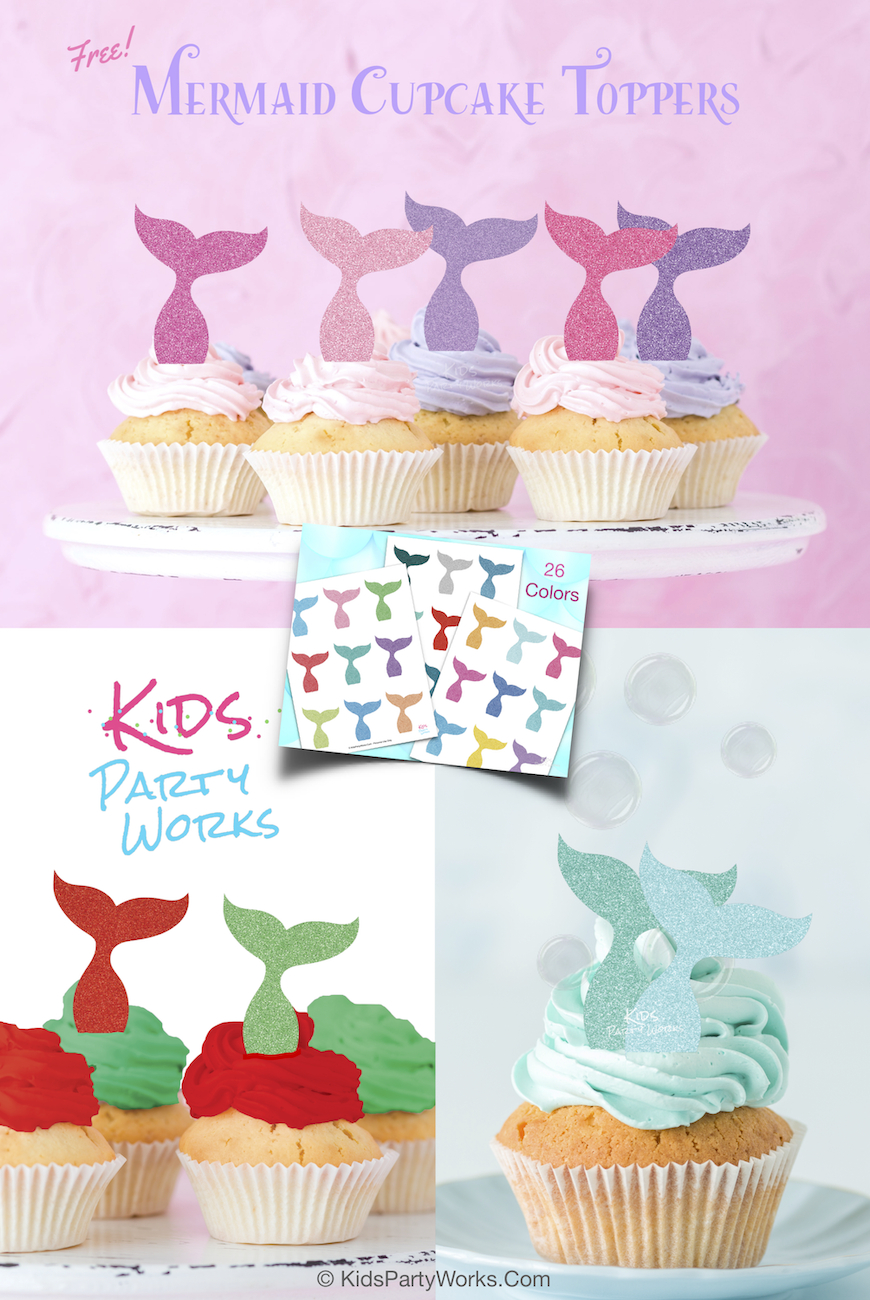 Free Mermaid Cupcake Toppers From Kidspartyworks. 26 Glitter - Free Printable Mermaid Cupcake Toppers