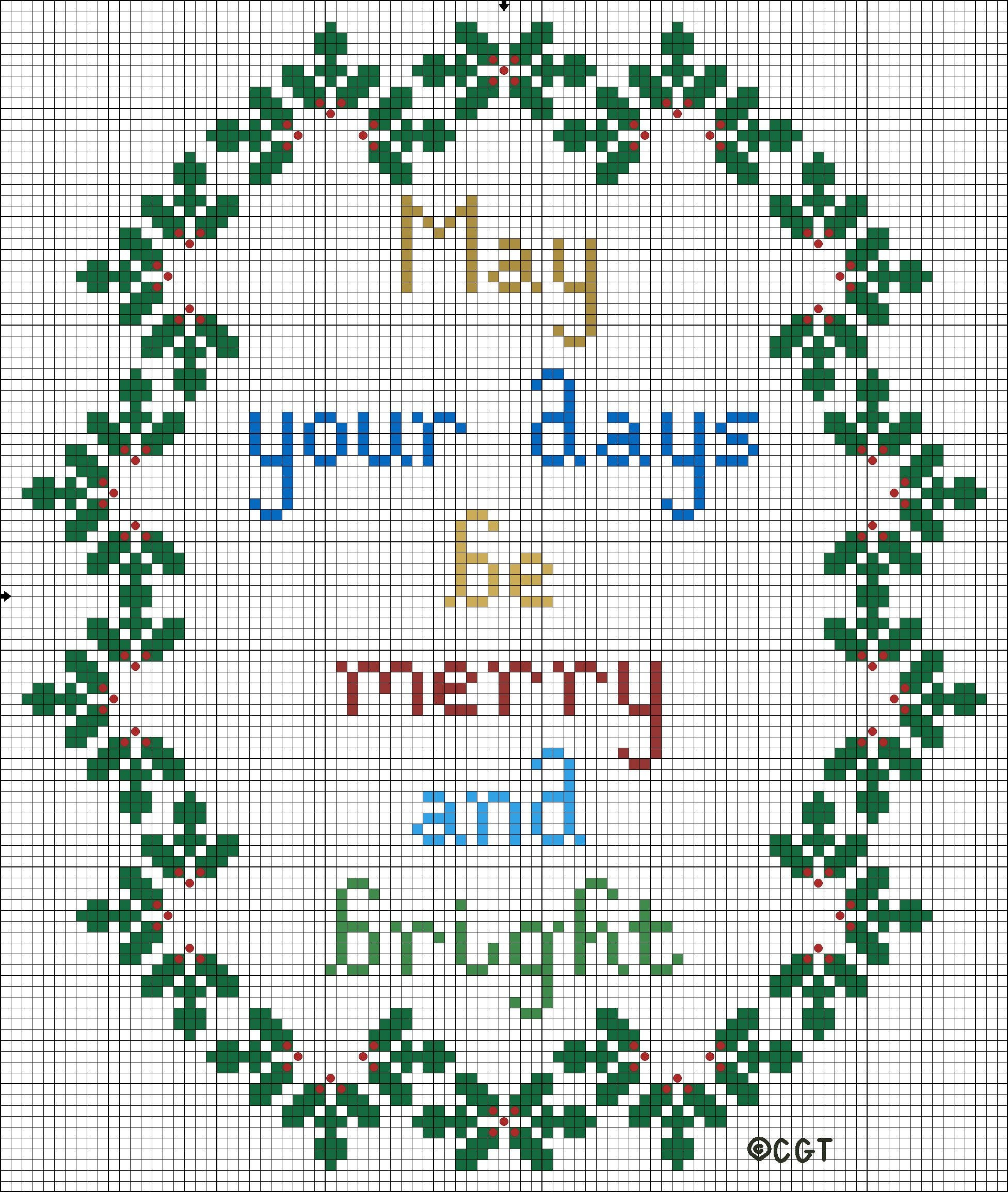 Free Merry And Bright Christmas Cross Stitch Pattern | Cross Stitch - Free Printable Cross Stitch