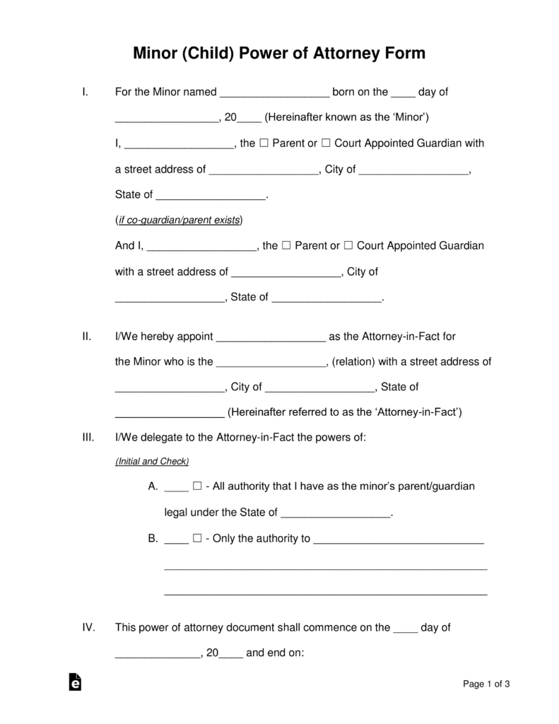 Free Minor (Child) Power Of Attorney Forms - Pdf | Word | Eforms - Free Printable Child Custody Forms
