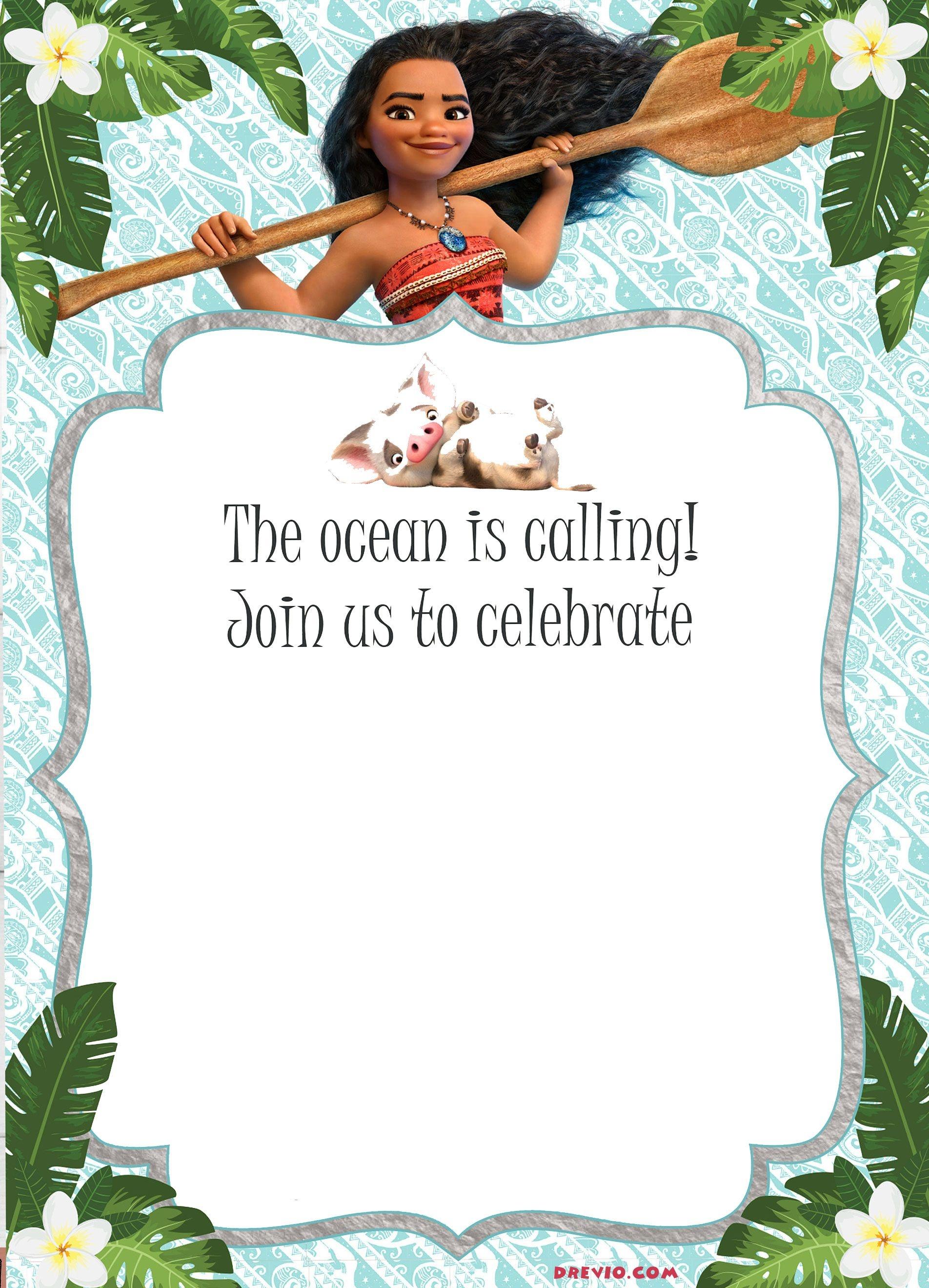 Free Moana Birthday Invitation Template | Moana / Luau Themed - Free Printable Moana Invitations