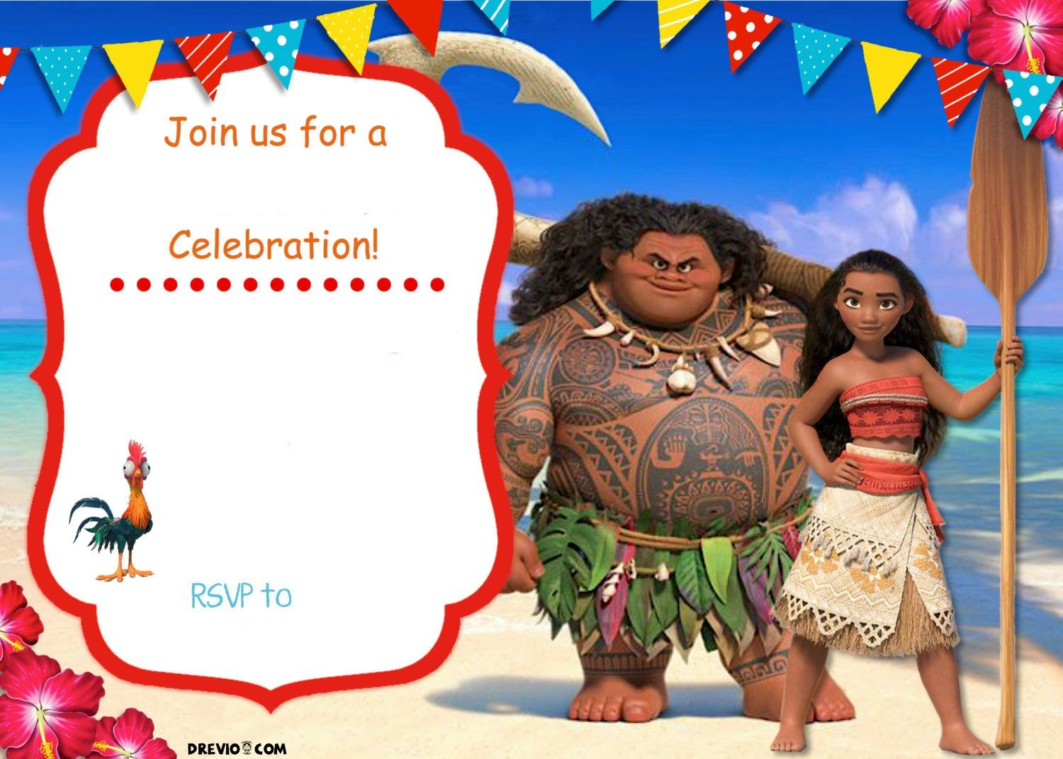 Free Moana Birthday Invitation Template | Zoey 4Th Birthday | Moana - Free Printable Moana Invitations