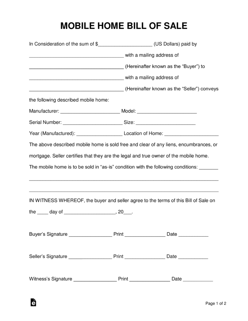 Free Mobile (Manufactured) Home Bill Of Sale Form - Word | Pdf - Find Free Printable Forms Online
