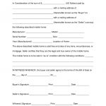 Free Mobile (Manufactured) Home Bill Of Sale Form   Word | Pdf   Free Printable Bill Of Sale For Mobile Home