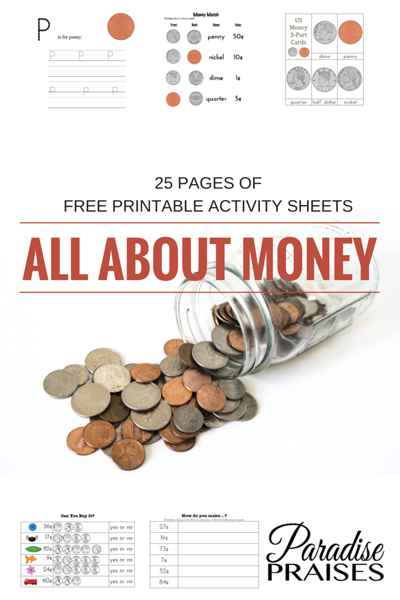 Free Money Printables | Paradise Praises Blog | Money Activities - Homeschooling Paradise Free Printable Math Worksheets Third Grade