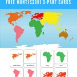 Free Montessori Printable 7 Continents Of The World 3 Part   Montessori World Map Free Printable