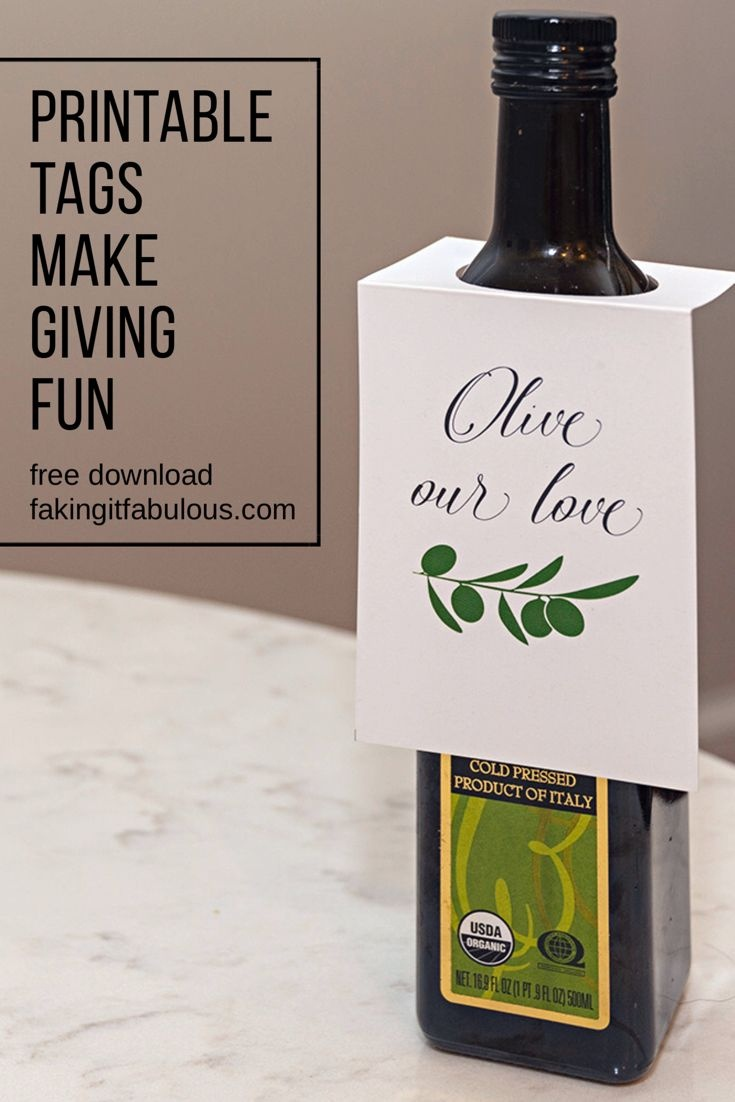 Free Olive Oil Gift Tags. Thank Your Teachers, Clients, And Friends - Free Printable Olive Oil Labels