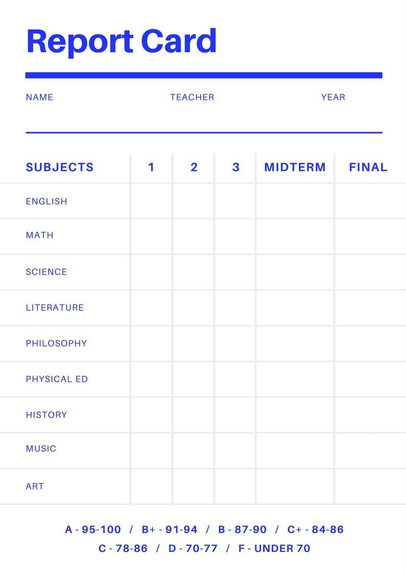 Free Online Report Card Maker: Design A Custom Report Card In Canva - Free Printable Kindergarten Report Cards