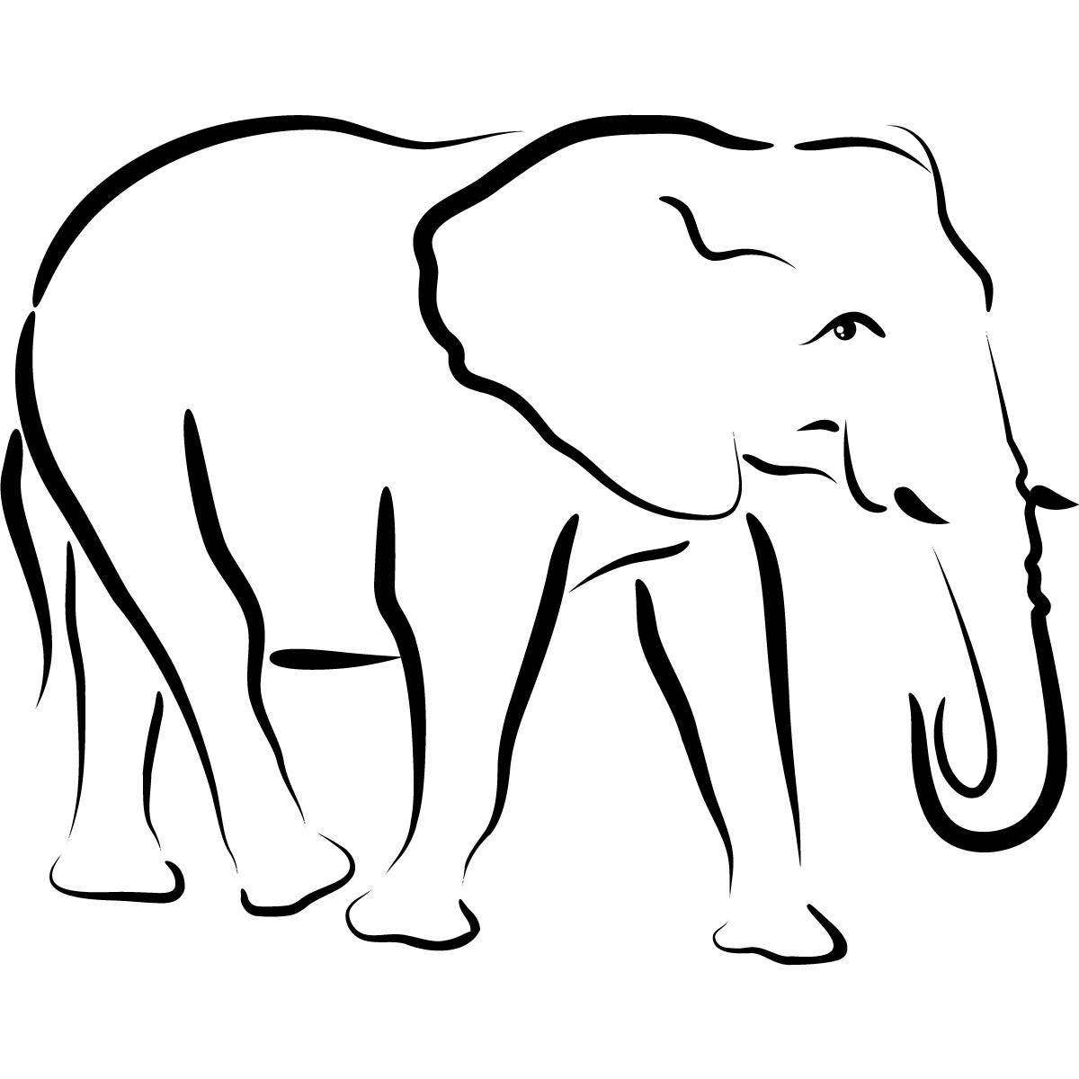 Free Outline Of An Elephant, Download Free Clip Art, Free Clip Art - Free Printable Arty Animal Outlines