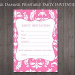 Free Party Invitation Pink Damask | Party Ideas | 13Th Birthday   13Th Birthday Party Invitations Printable Free