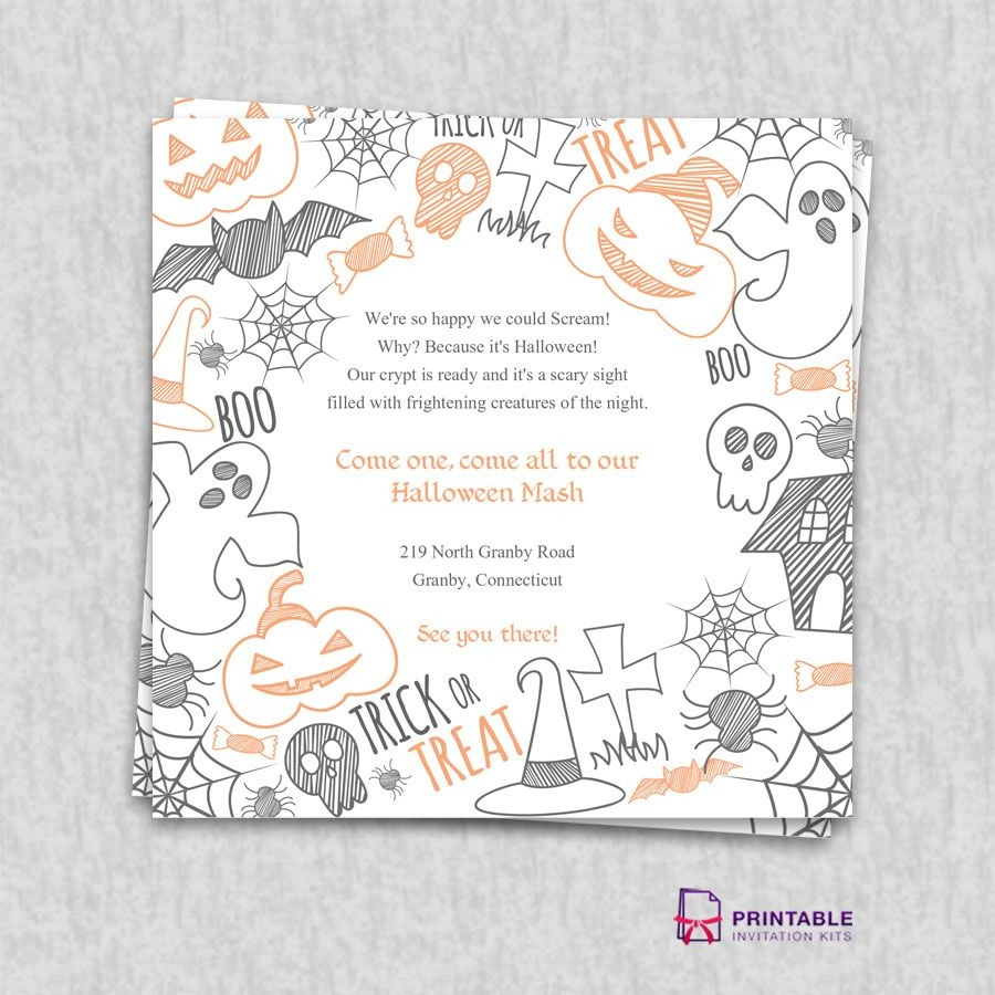Free Pdf Download. Halloween Party Invitation Template | Wedding - Free Printable Halloween Wedding Invitations
