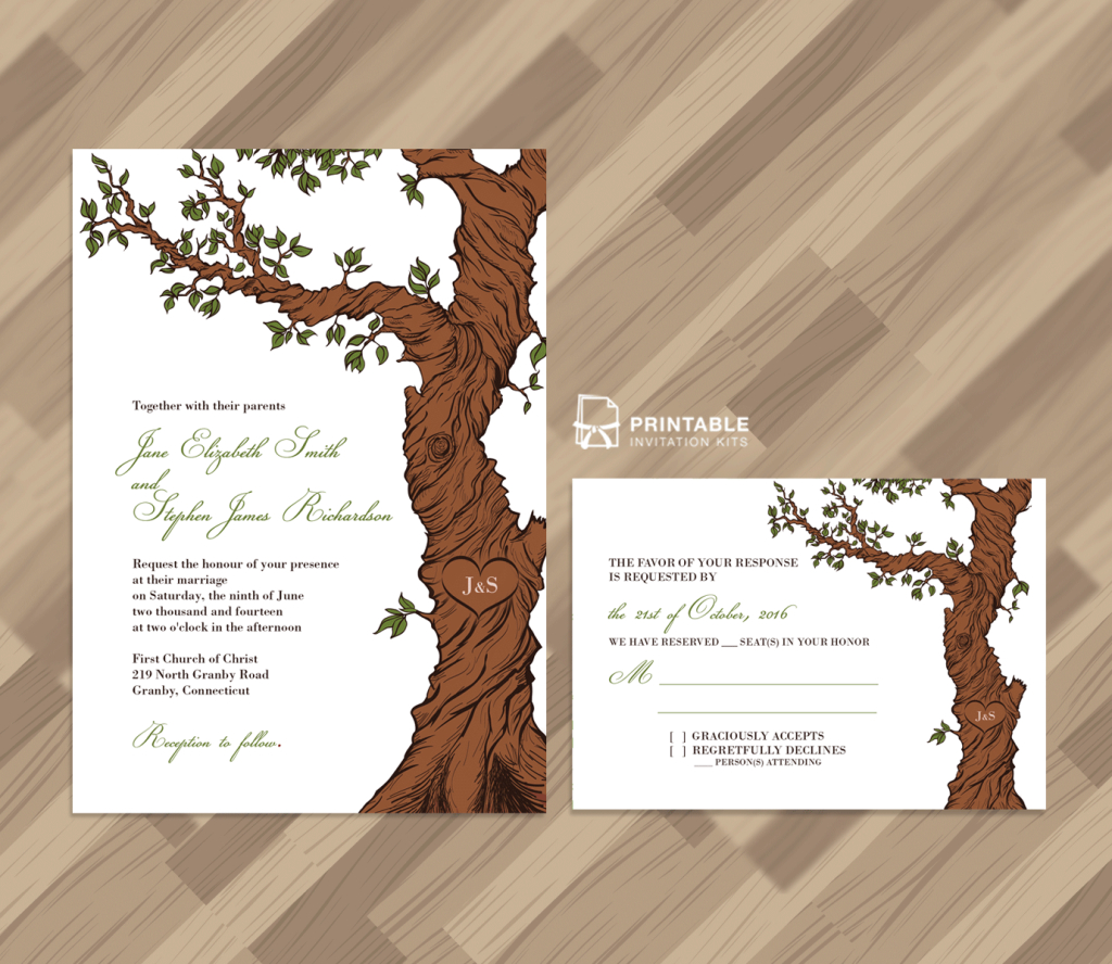 Free Pdf Rustic Wedding Invitation And Rsvp Template Fairytale Tree - Free Printable Wedding Invitation Kits