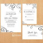 Free Pdf Templates. Easy To Edit And Print At Home. Elegant Ribbon   Free Printable Wedding Invitation Kits