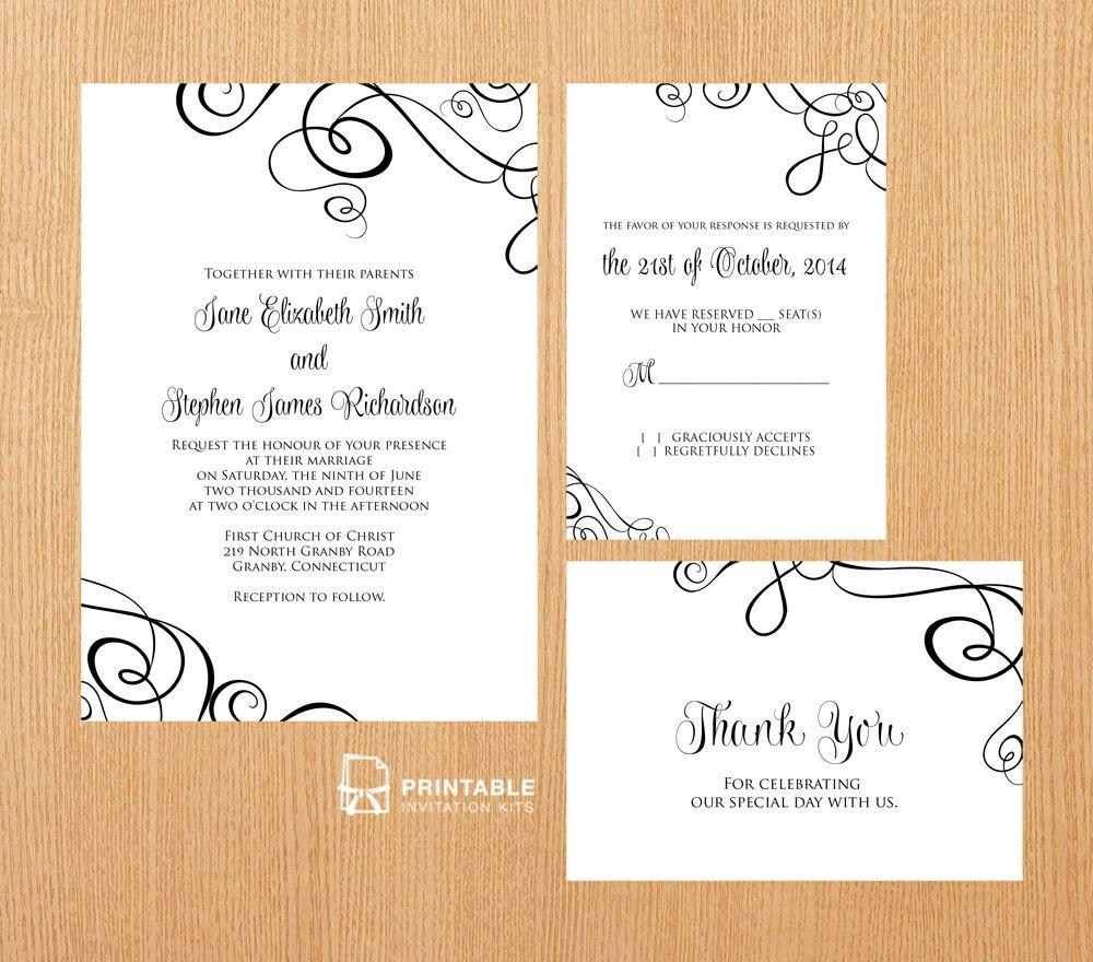 Free Pdf Templates. Easy To Edit And Print At Home. Elegant Ribbon - Free Printable Wedding Invitation Kits
