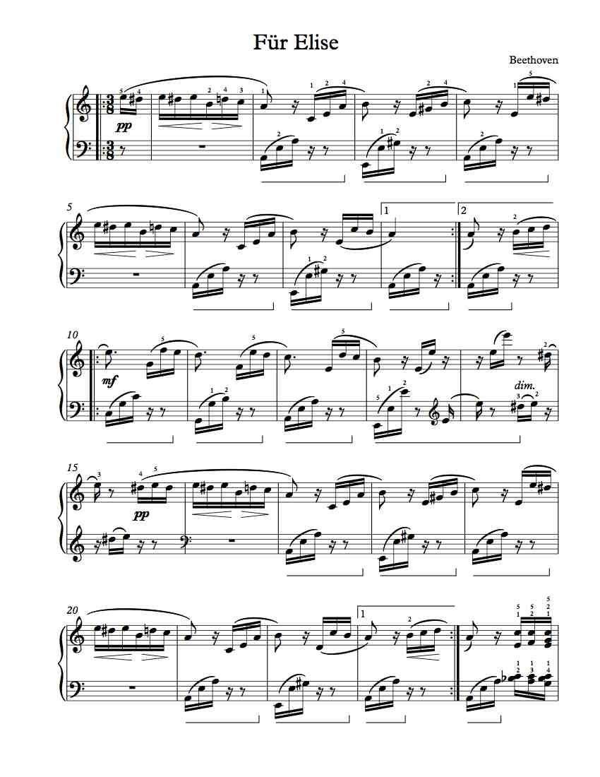 Free Piano Sheet Music – Für Elise | Free Sheet Music | Piano Sheet - Free Printable Piano Sheet Music Fur Elise