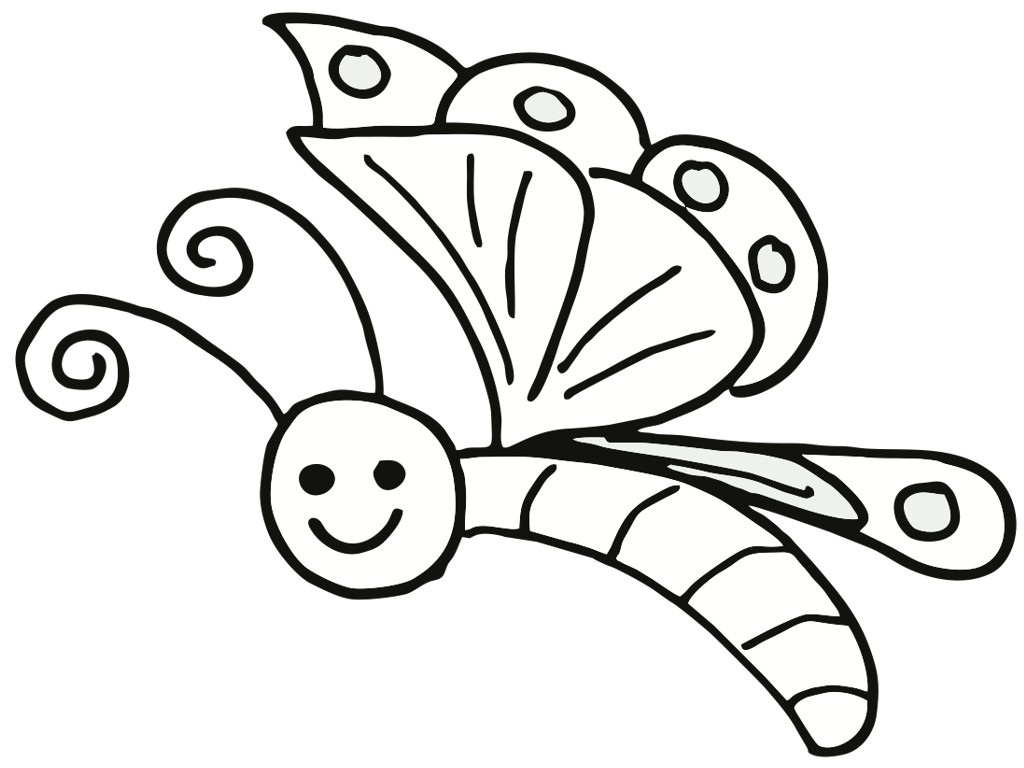 Free Pic Of Butterfly Simple In Black N White For Colouring For - Free Printable Butterfly Coloring Pages