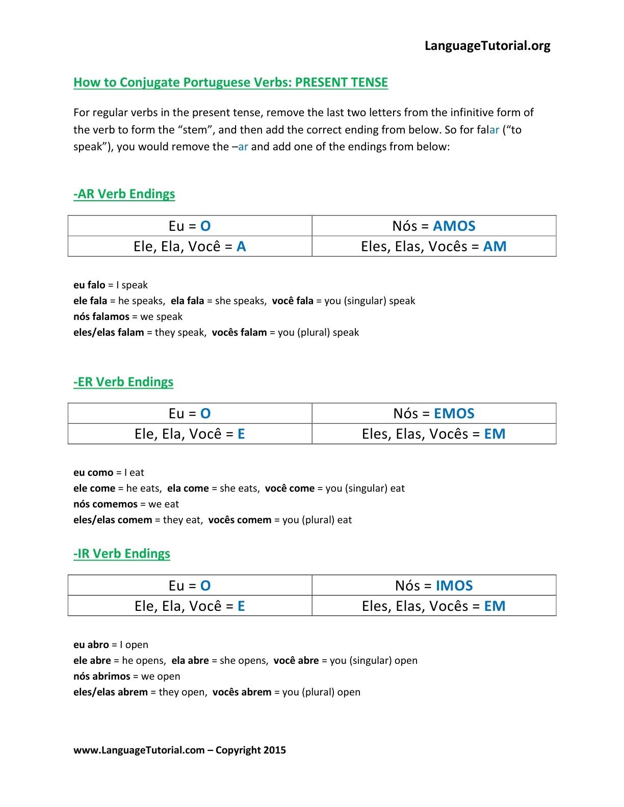 Free Portuguese Worksheets - Online & Printable - Free Printable Portuguese Worksheets