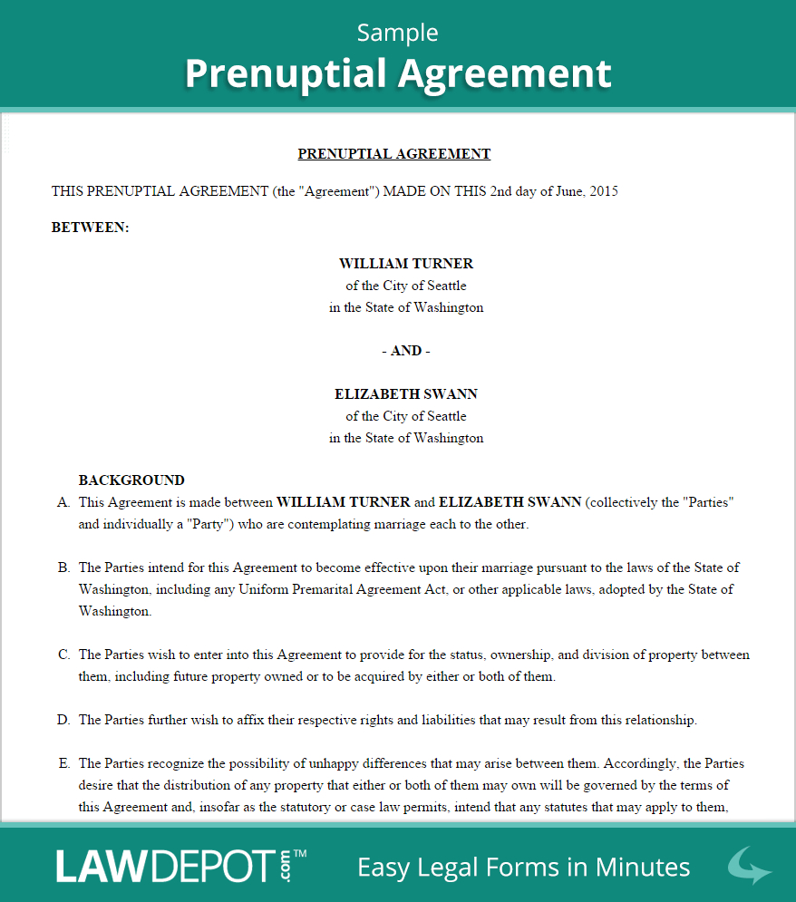 Free Prenuptial Agreement - Create, Download, And Print | Lawdepot (Us) - Free Printable Prenuptial Agreement Form