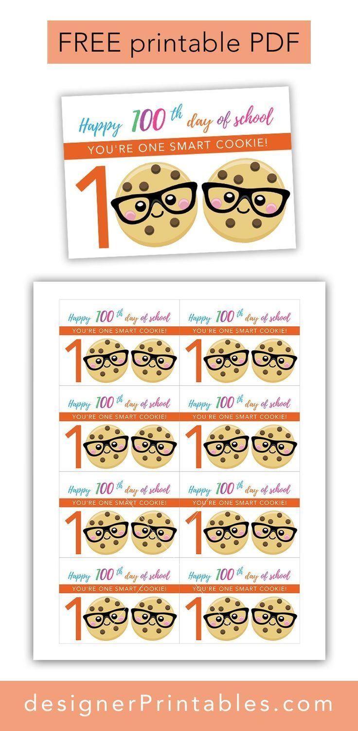 image regarding You're One Smart Cookie Printable named 100Th Working day Of College Printable Gles Totally free Free of charge Printable