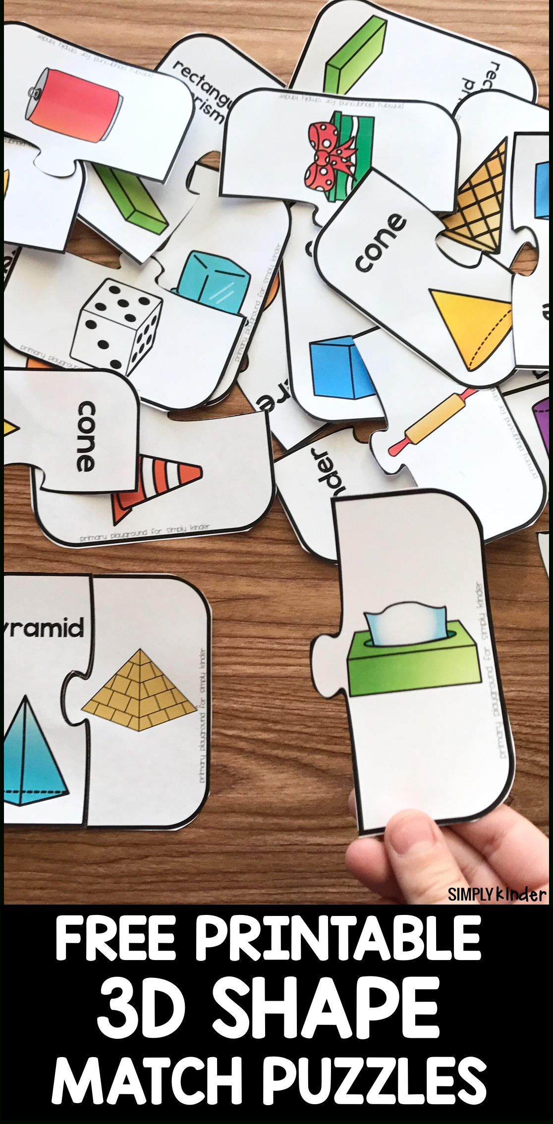 Free Printable 3D Shape Puzzles - Simply Kinder - Free Printable Shapes