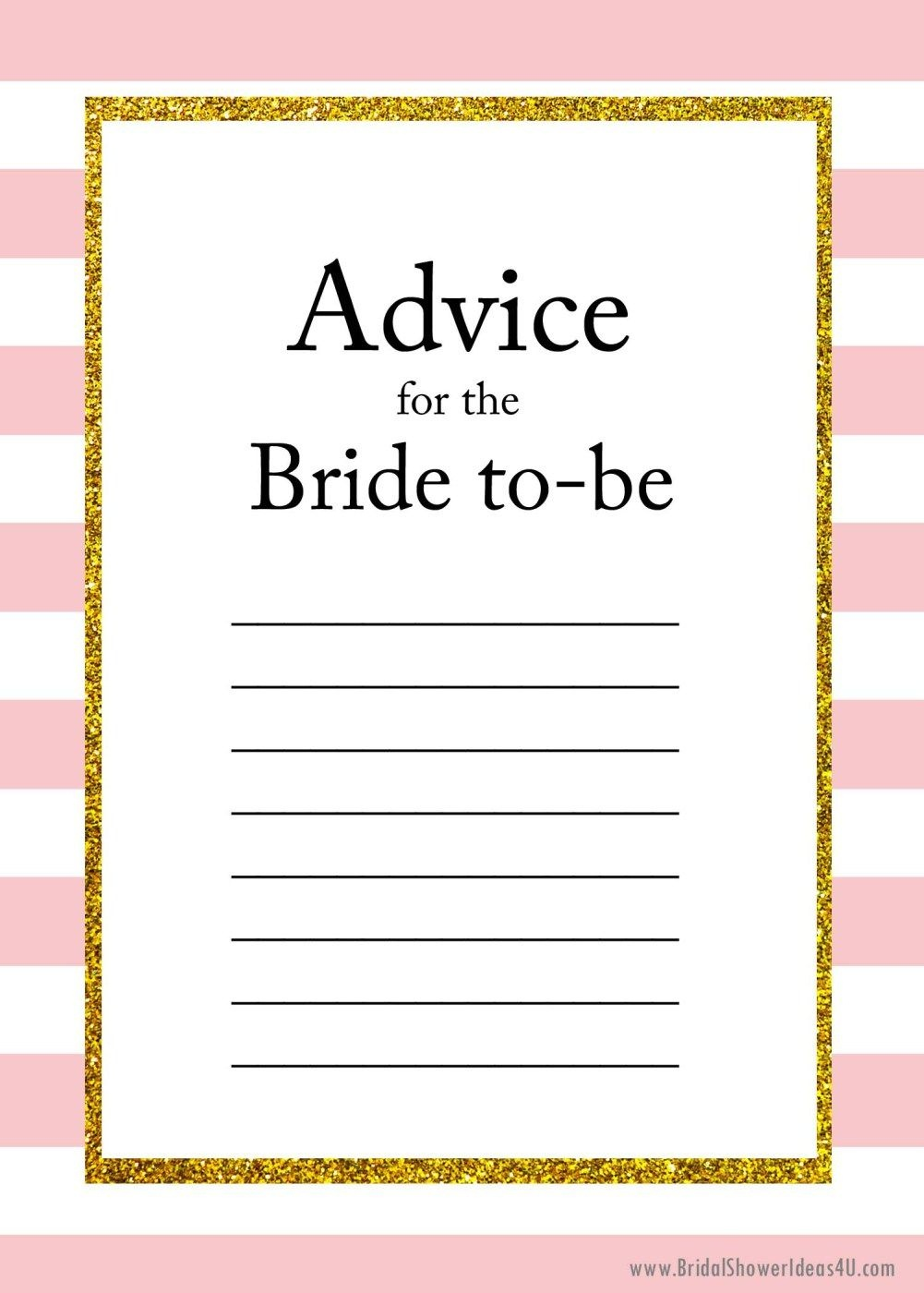 Free Printable Advice For The Bride To Be Cards | Friendship | Bride - Free Printable Bridal Shower Advice Cards