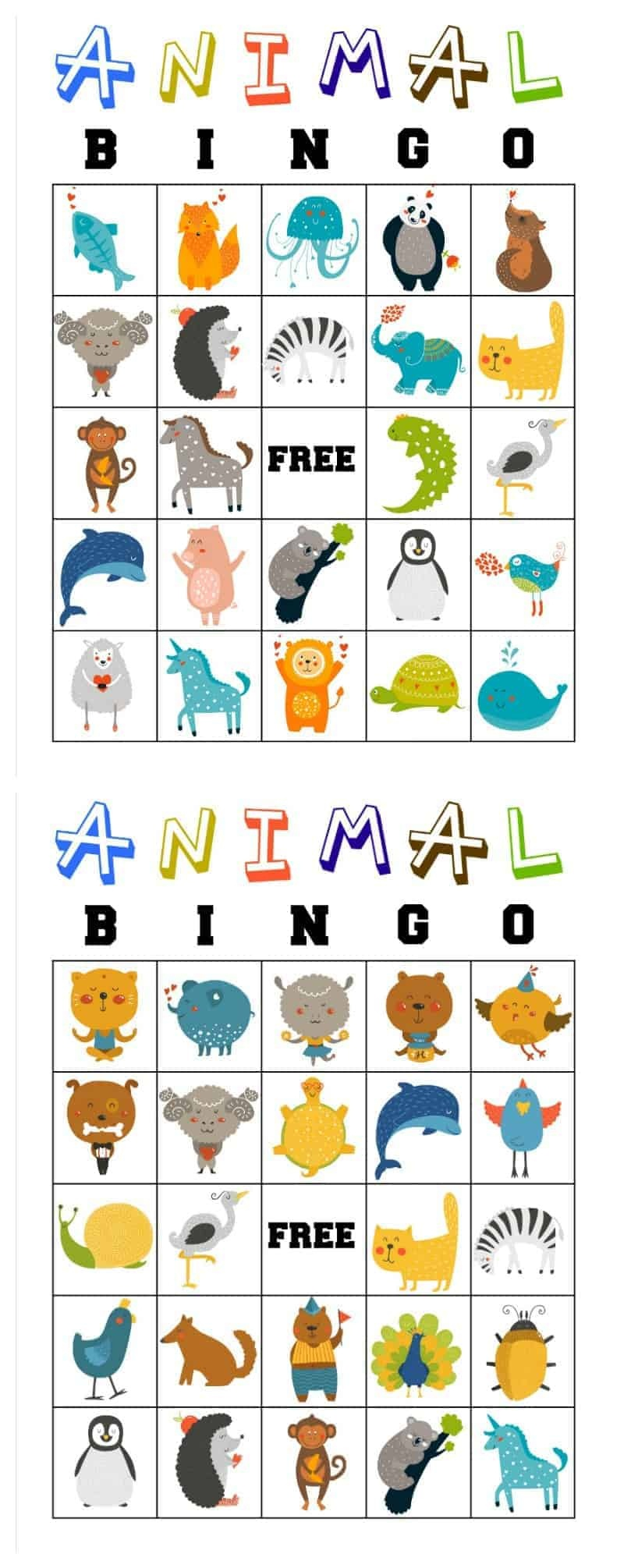 Free Printable Animal Bingo Cards For Toddlers And Preschoolers - Free Printable Bible Bingo For Preschoolers