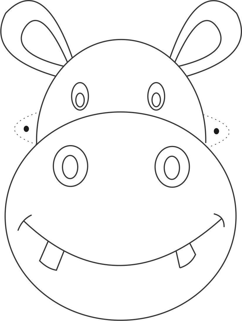 Free Printable Animal Masks Templates | Hippo Mask Printable - Animal Face Masks Printable Free