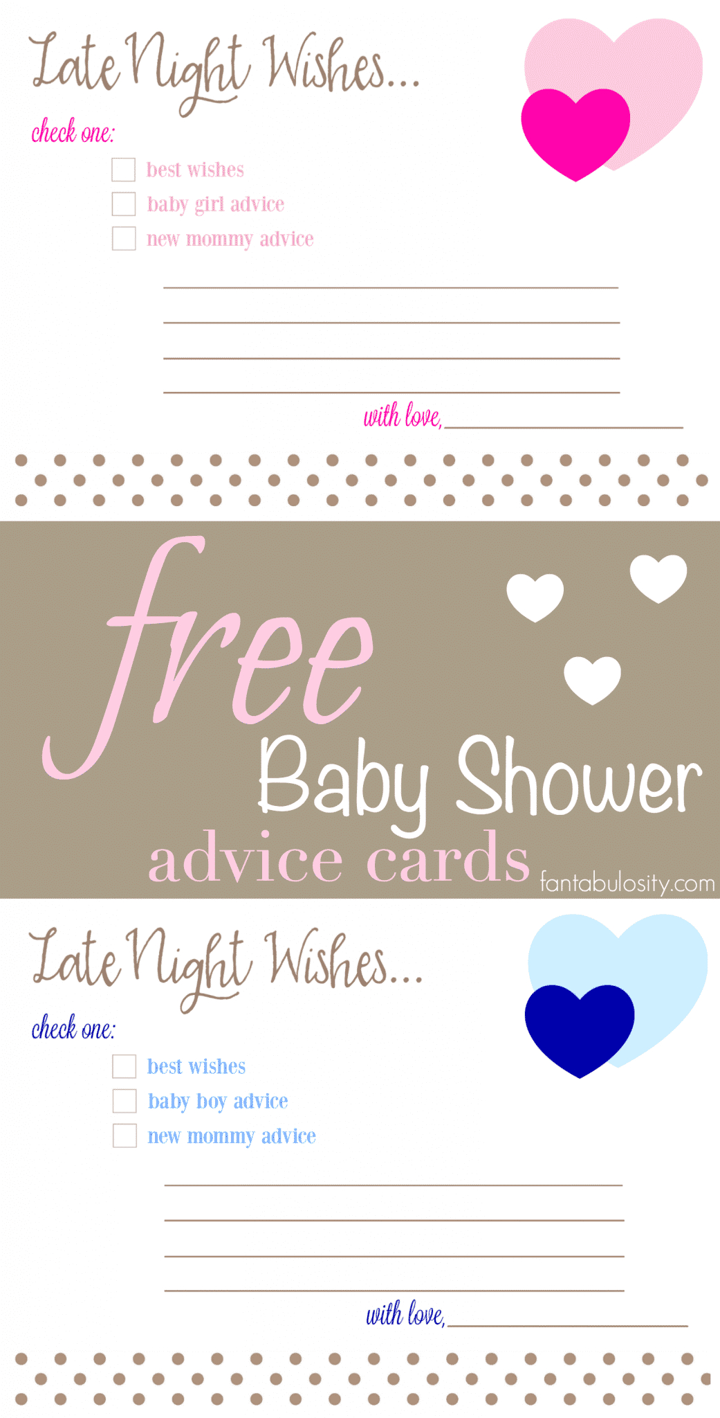 Free Printable Baby Shower Advice & Best Wishes Cards - Fantabulosity - Free Mommy Advice Cards Printable