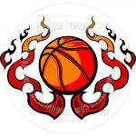 Free Printable Basketball Clip Art   Basketball Template With Flames   Free Printable Basketball Court